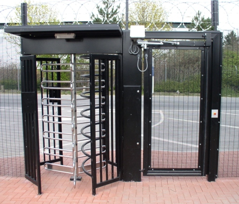 Zabag 120 degree turnsile and emergency pedestrian gate with DAAB drive