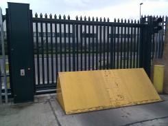 Zabag Sliding gate with palisade infil and Heald road blocker.